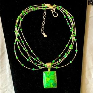 Lime Green Turquoise pendant 5 strand 925 necklace